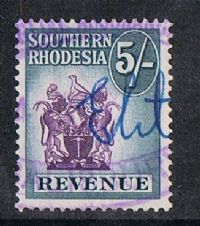 Southern Rhodesia Bft36 1952 Revenue 5/- used